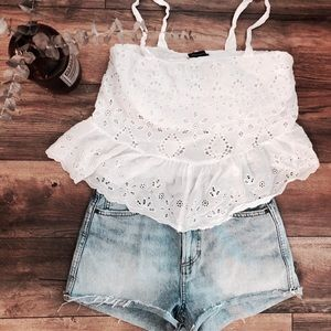 White Ruffle Tank with Delicate Detailing